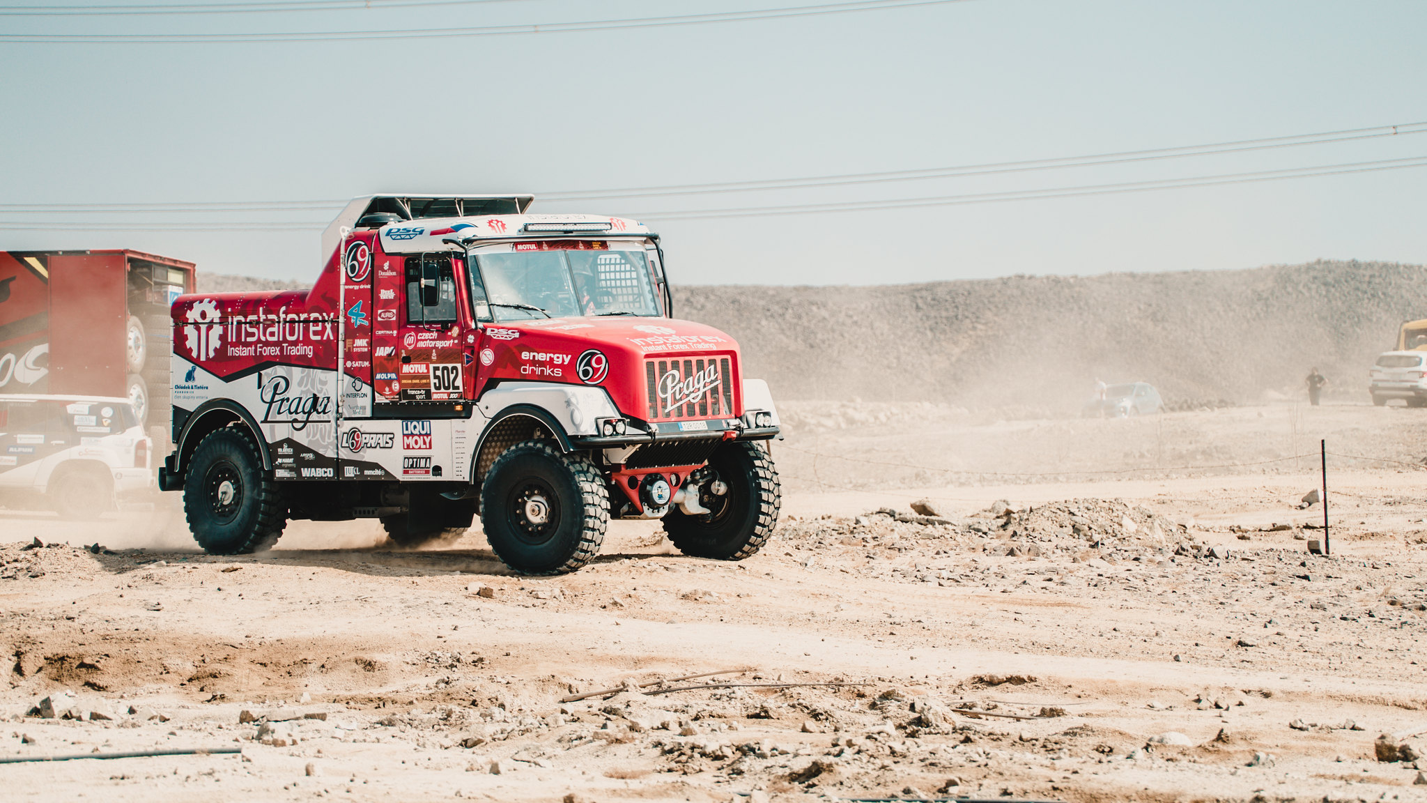 Loprais' Praga has successfully completed its first race kilometres at Dakar